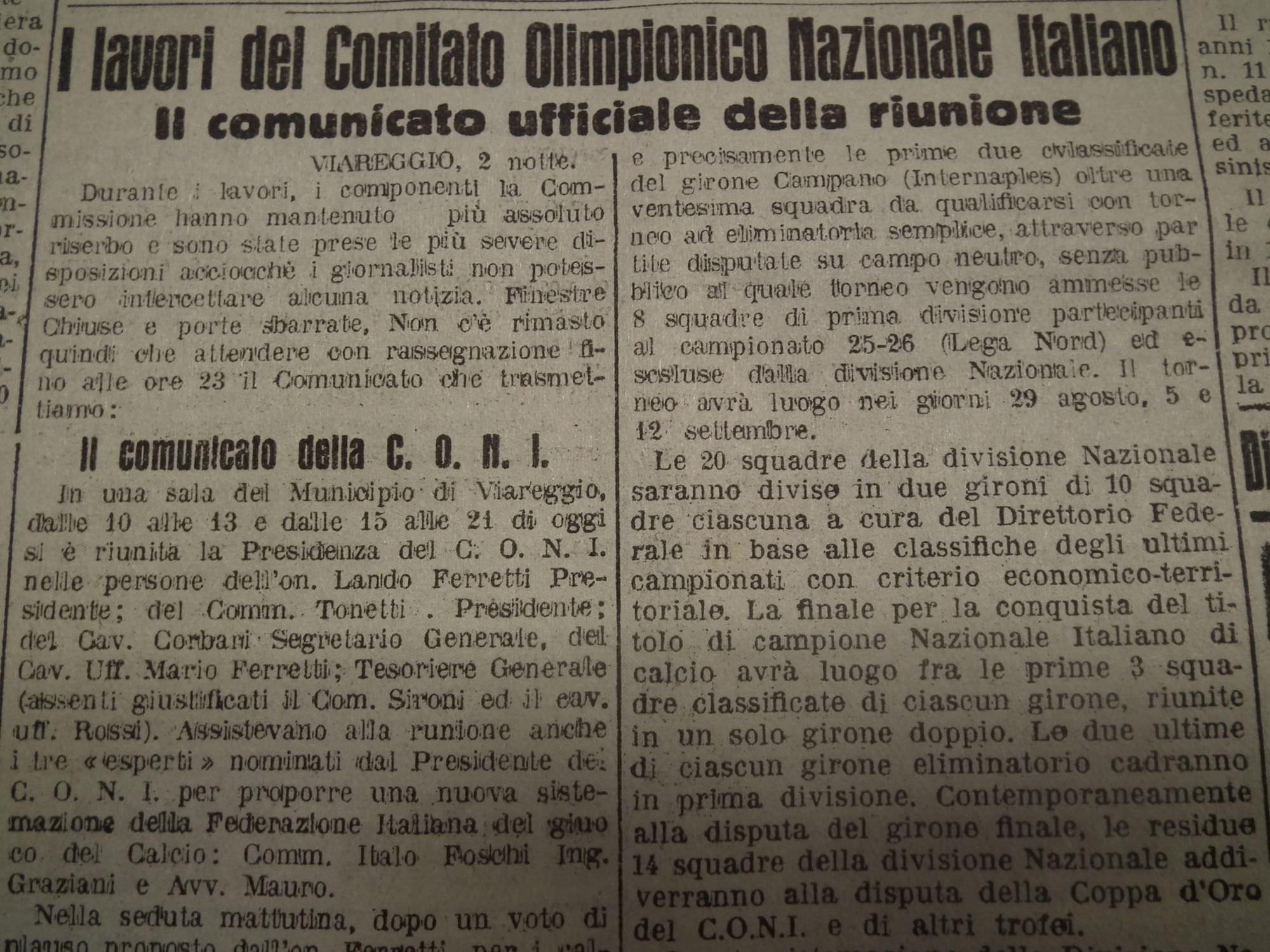 Accadde oggi: la Carta di Viareggio rivoluziona il calcio italiano