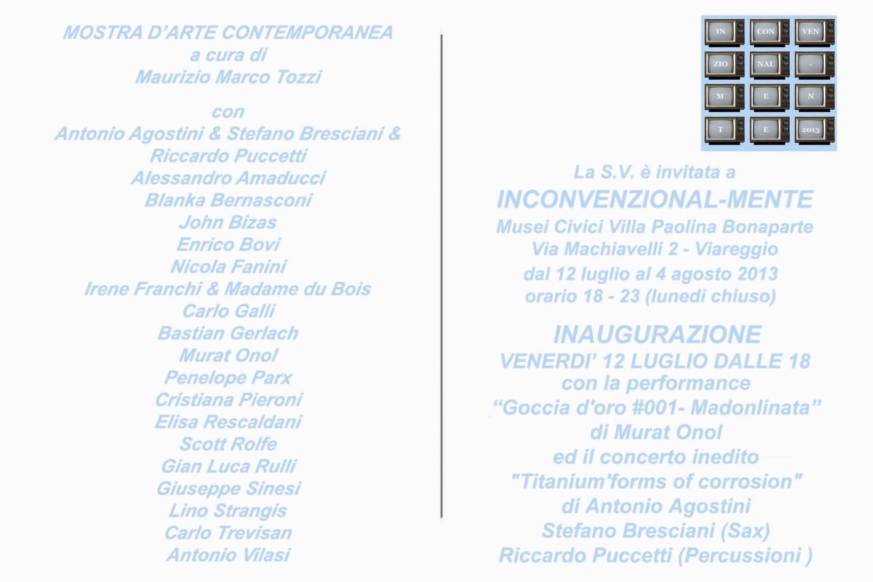 """""""INCONVENZIONAL-MENTE"""", INAUGURAZIONE A VILLA PAOLINA"""
