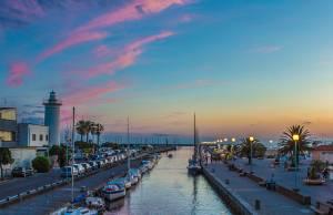 tramonto, canale, molo, viareggio, burlamacca