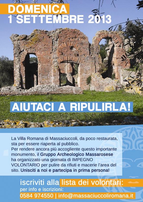 Volontari per ripulire Villa Romana a Massaciuccoli