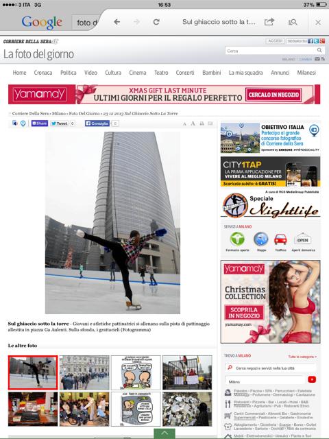 Prima pagina sul Corriere per la pista di pattinaggio viareggina a Milano