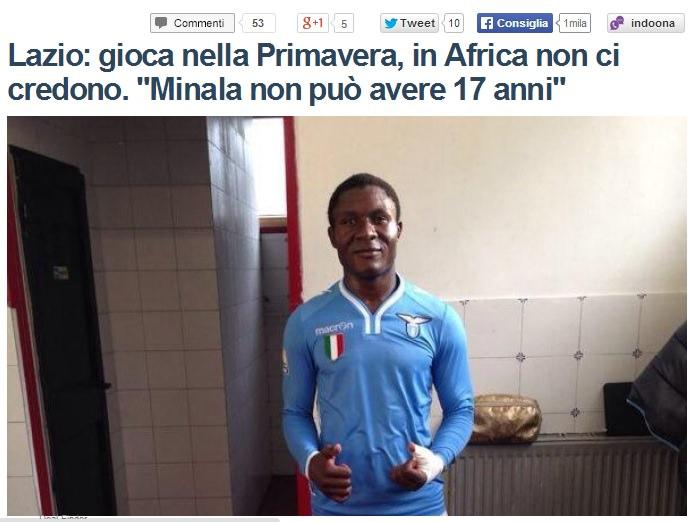 """Alla Viareggio Cup ha giocato Minala, il """"presunto"""" 17enne calciatore della Lazio"""