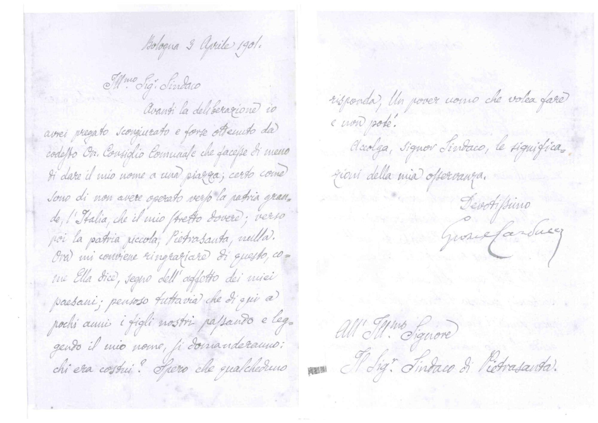 Ritrovata una lettera di Giosuè Carducci indirizzata al sindaco di Pietrasanta