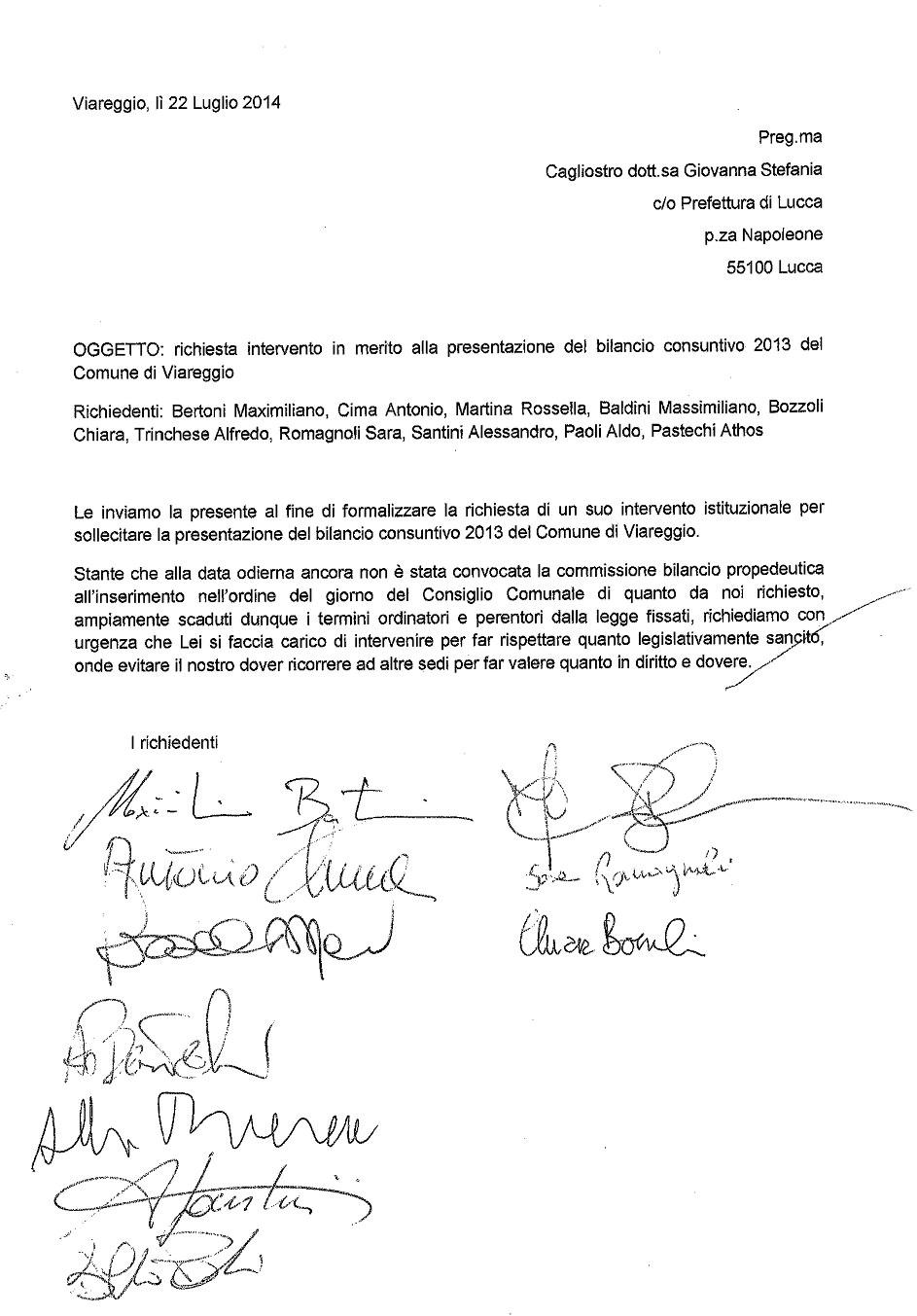 Ritardi sul bilancio 2013 del Comune di Viareggio, l'opposizione scrive al prefetto