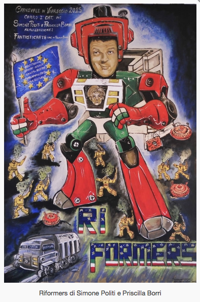 La satira politica regna al Carnevale di Viareggio 2015, Renzi e la Merkel i più rappresentati