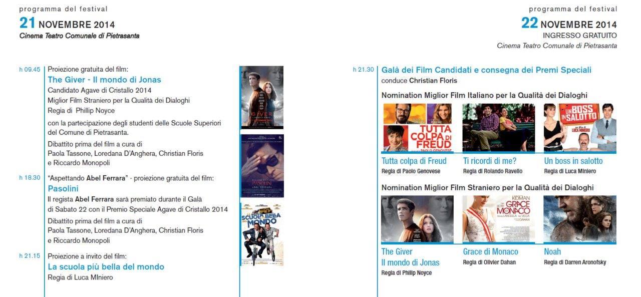 L'Agave di Cristallo. Tutto il programma del Festival del Cinema di Pietrasanta