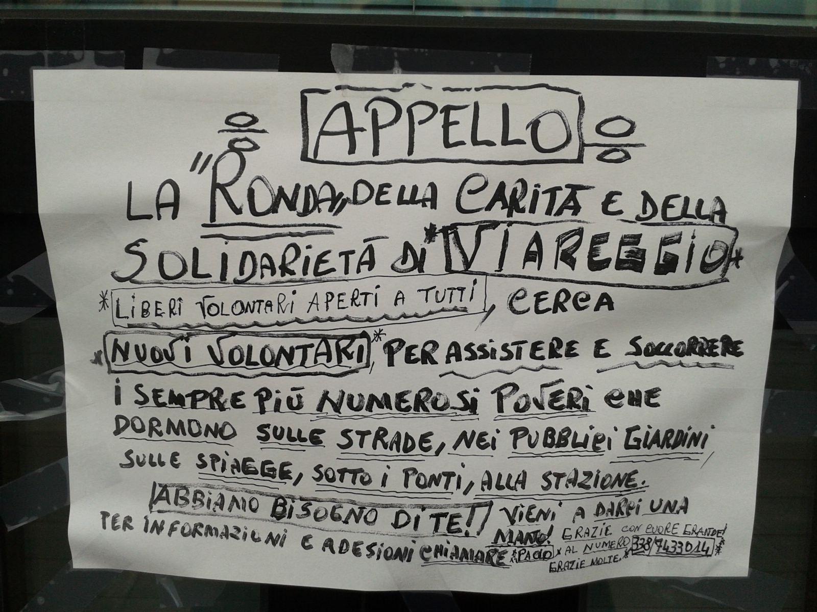 A Viareggio si cercano volontari per aiutare i senzatetto