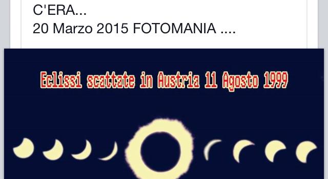 1999- 2015. Sedici anni dopo Fotomania ancora protagonista per l'eclissi di sole di primavera
