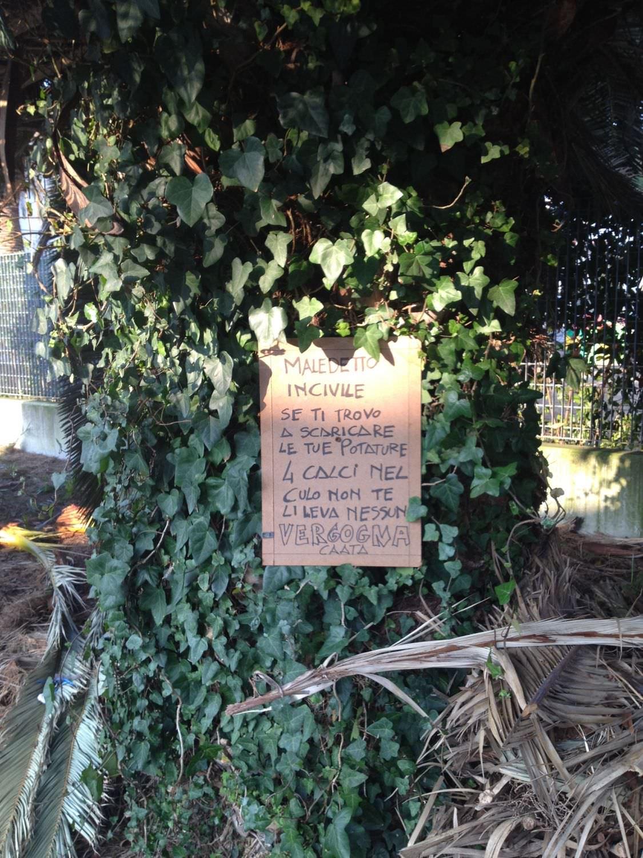 Potature e rami abbandonati per la strada. E davanti alla Chiesa spunta un cartello