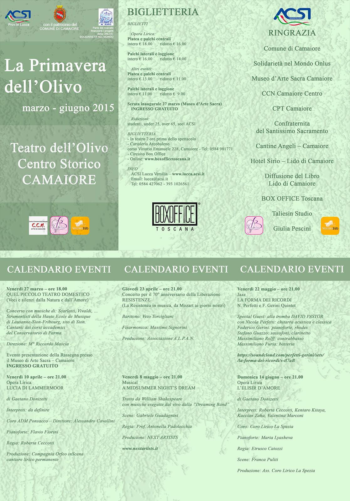 La Primavera dell'Olivo. Al via la rassegna di teatro musicale indipendente