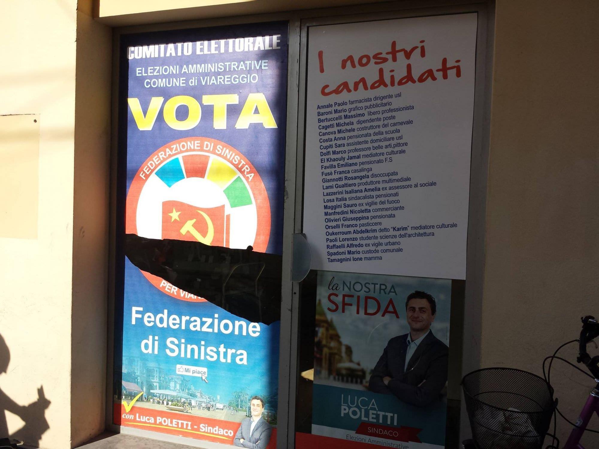 Viareggio, vandalismo contro la sede di Federazione della Sinistra