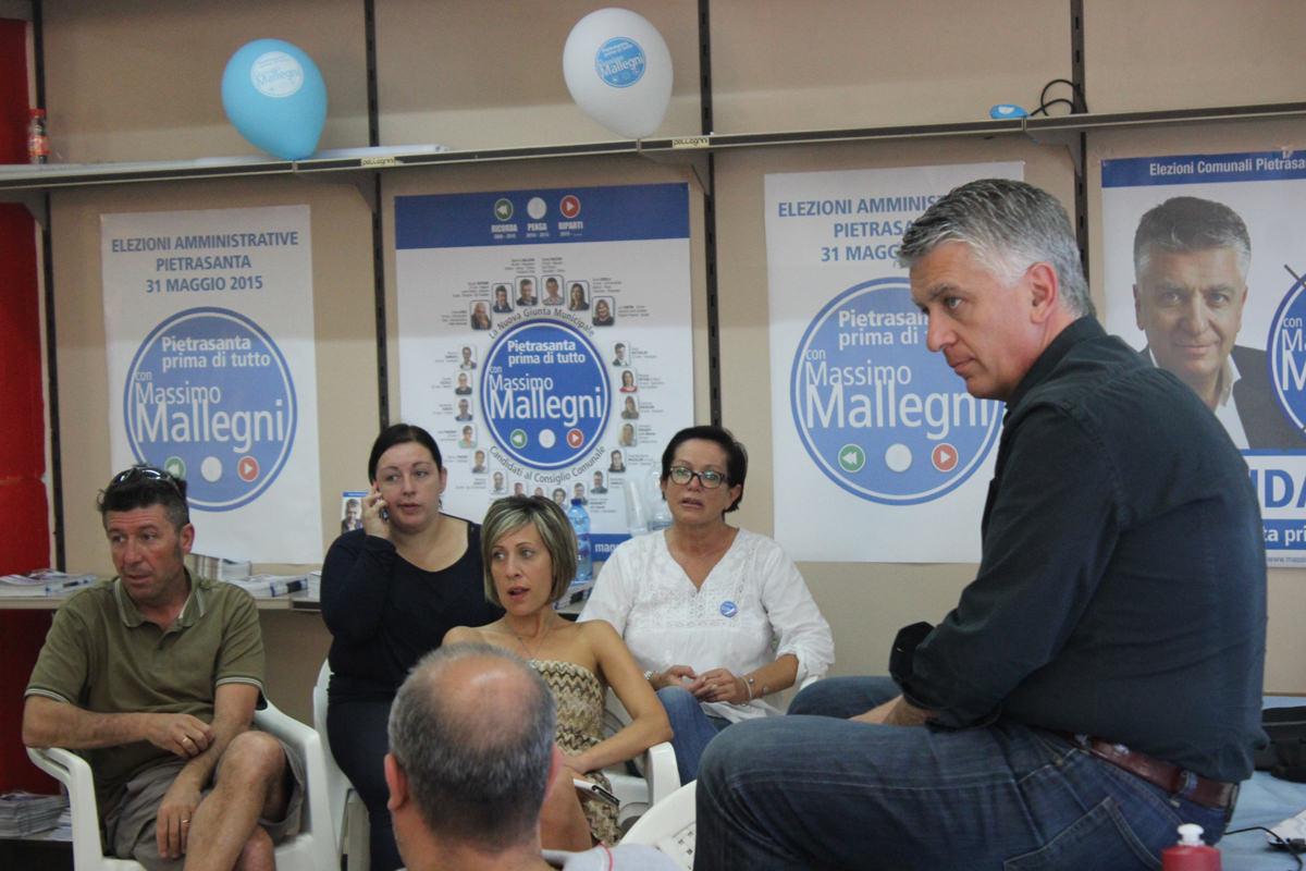 """Mallegni riceve al comitato elettorale: """"Nonostante la legge Severino sarò tra la gente"""""""