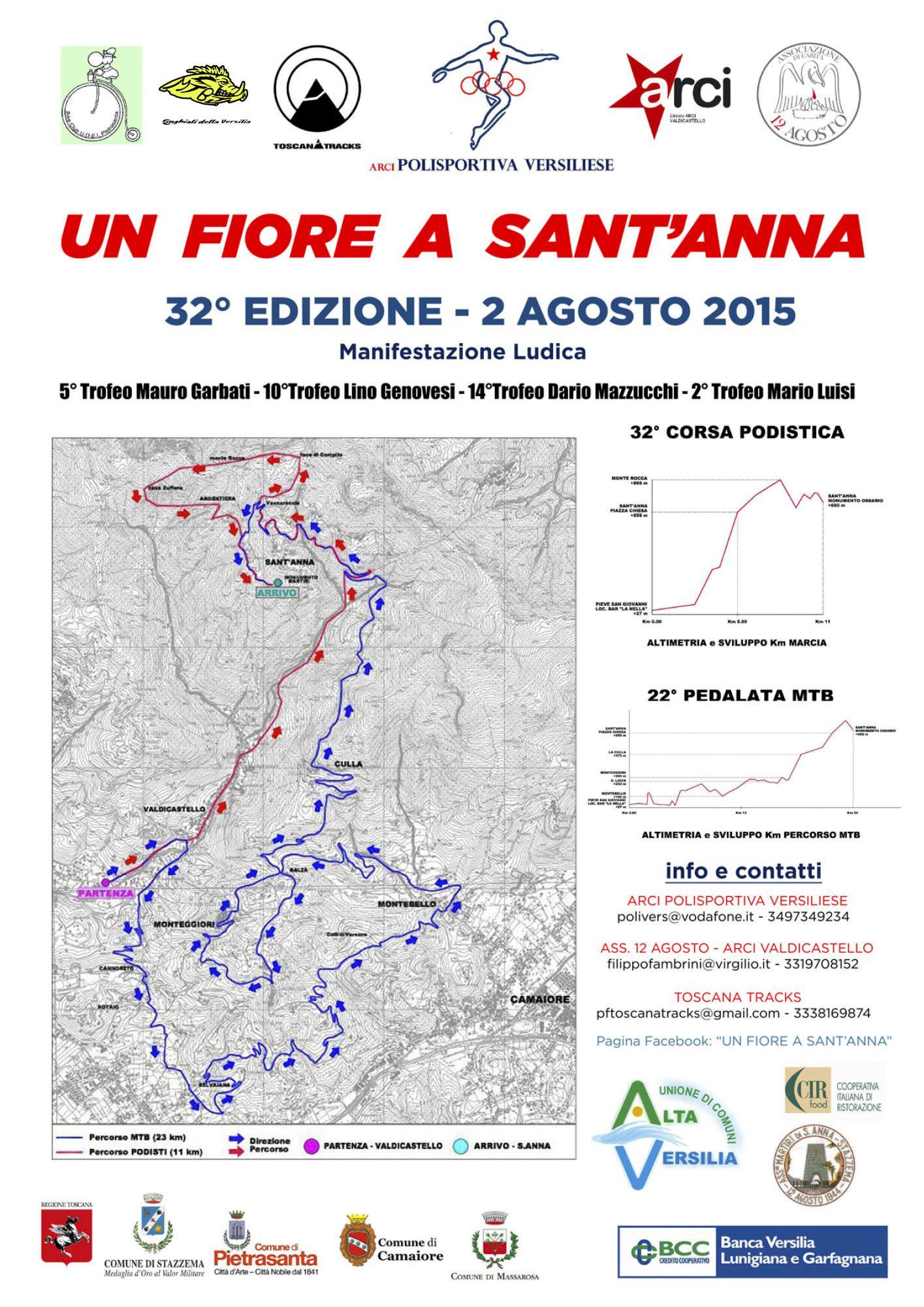 """Podismo, ciclismo e mountain bike con """"Un fiore a Sant'Anna"""""""