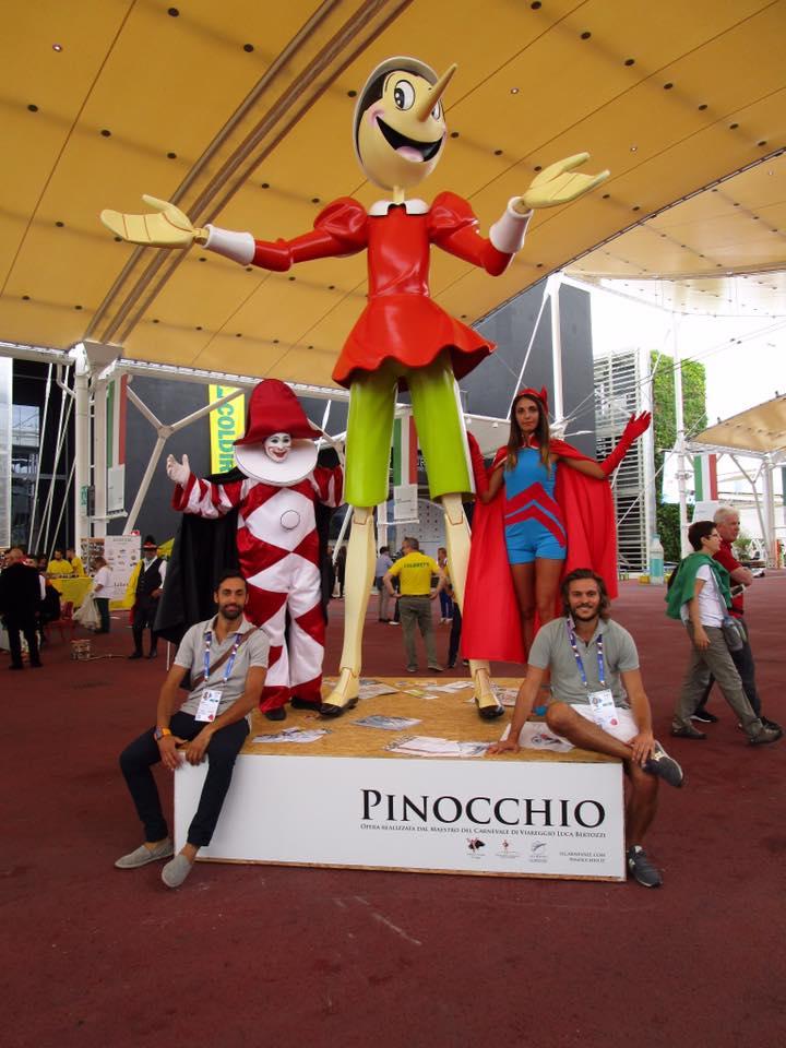 """Inaugurato a Expo 2015 il Pinocchio """"made in Viareggio"""" di Luca Bertozzi"""