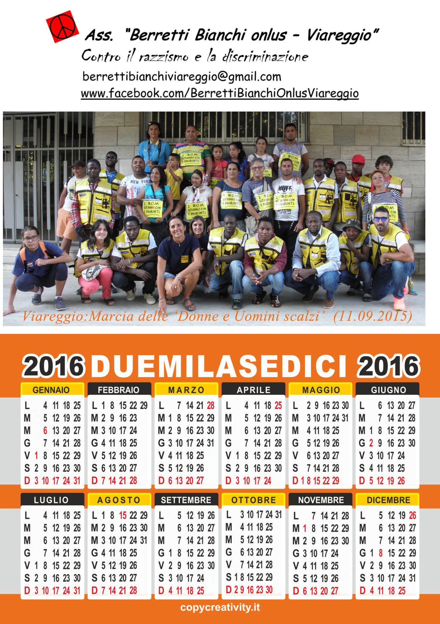 Il calendario 2016 dei Berretti Bianchi dedicato ai migranti