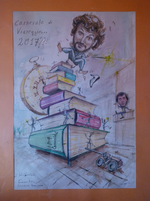 Artista viareggino consegna a Pieraccioni il bozzetto di un ipotetico carro