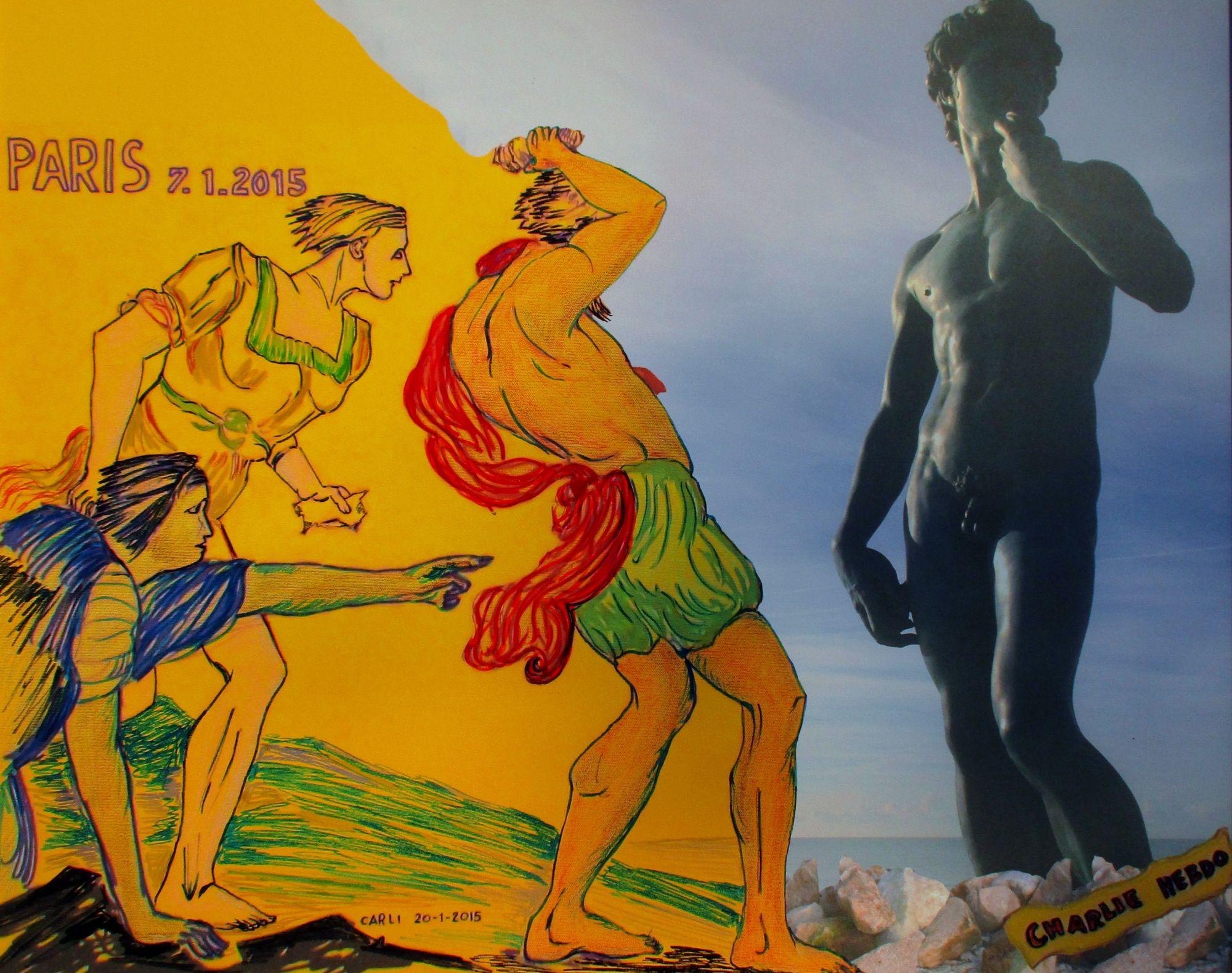 Omaggio alla strage Charlie Hebdo nell'opera di Carlo Carli donata a Forte dei Marmi