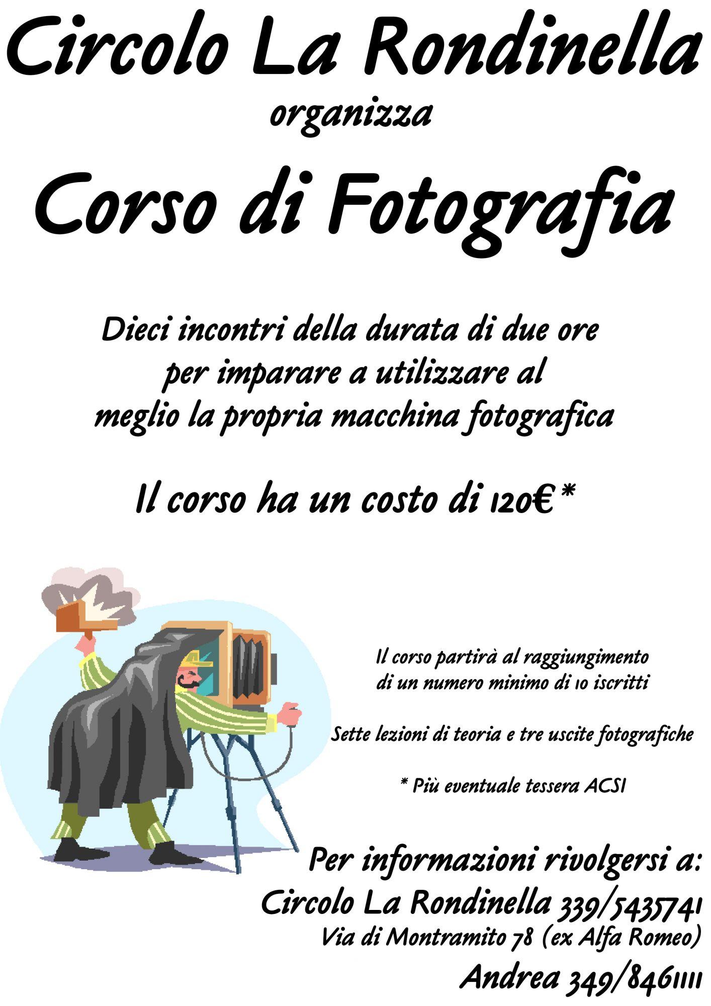 Aperte le iscrizioni al corso di fotografia alla Rondinella