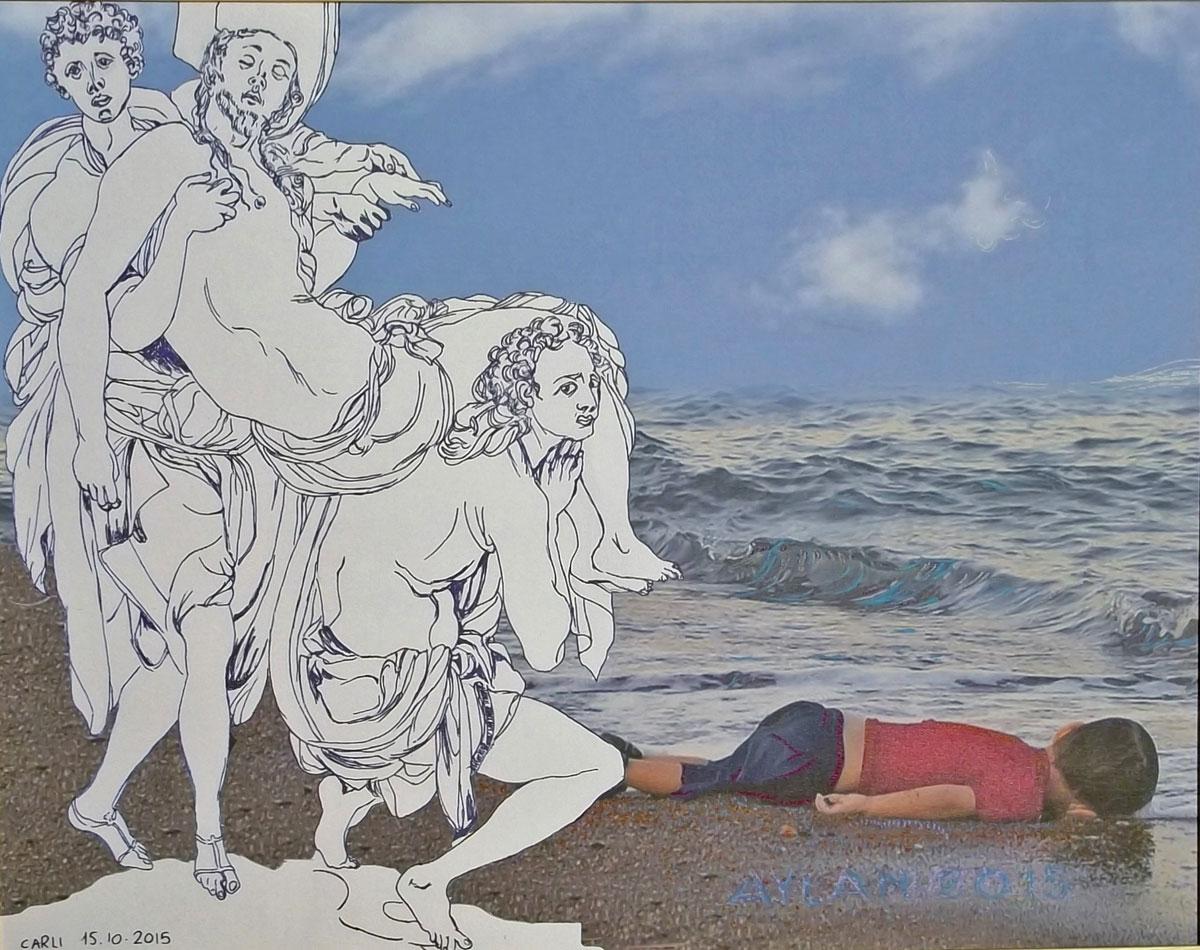 In memoria del piccolo Aylan. Carlo Carli dona a Papa Francesco un'opera dedicata al dramma dei migranti
