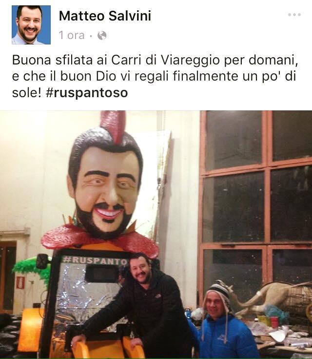 Salvini augura buon (fine) Carnevale a Viareggio su Facebook