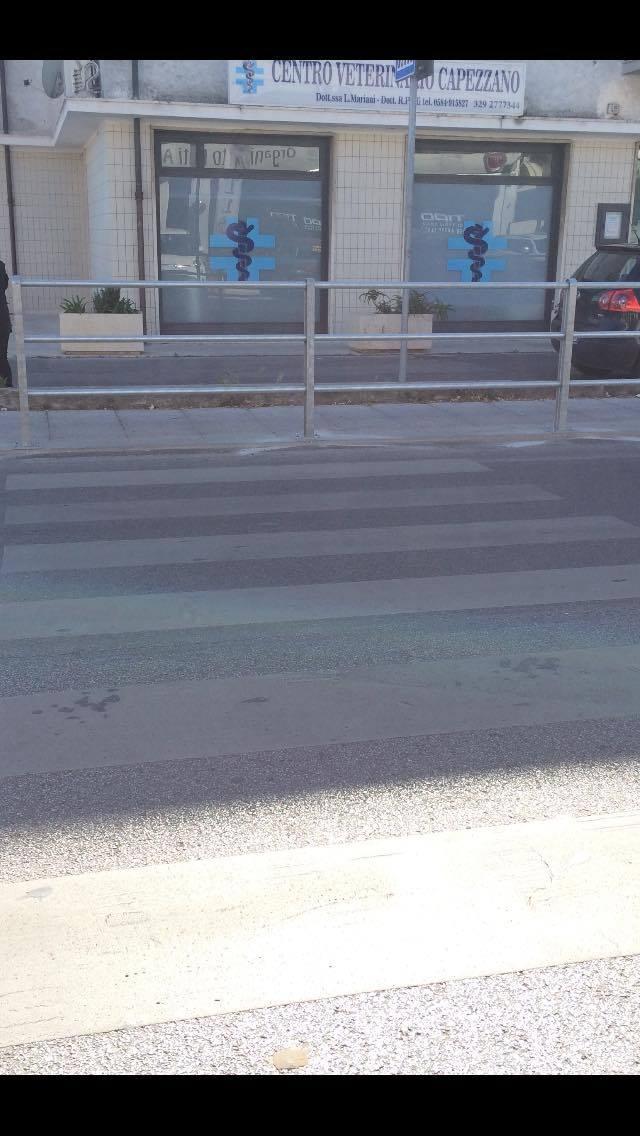 Strisce pedonali contro barriera salvamarciapiede. Disagi per i pedoni sulla Sarzanese