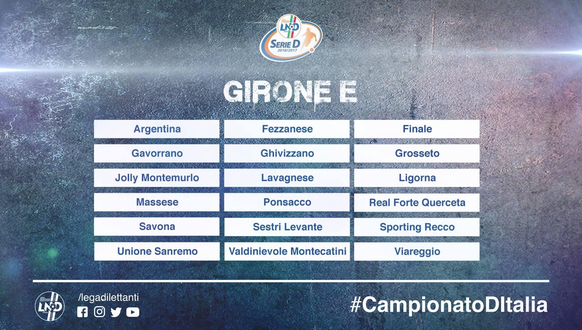 Serie D, il calendario del girone E
