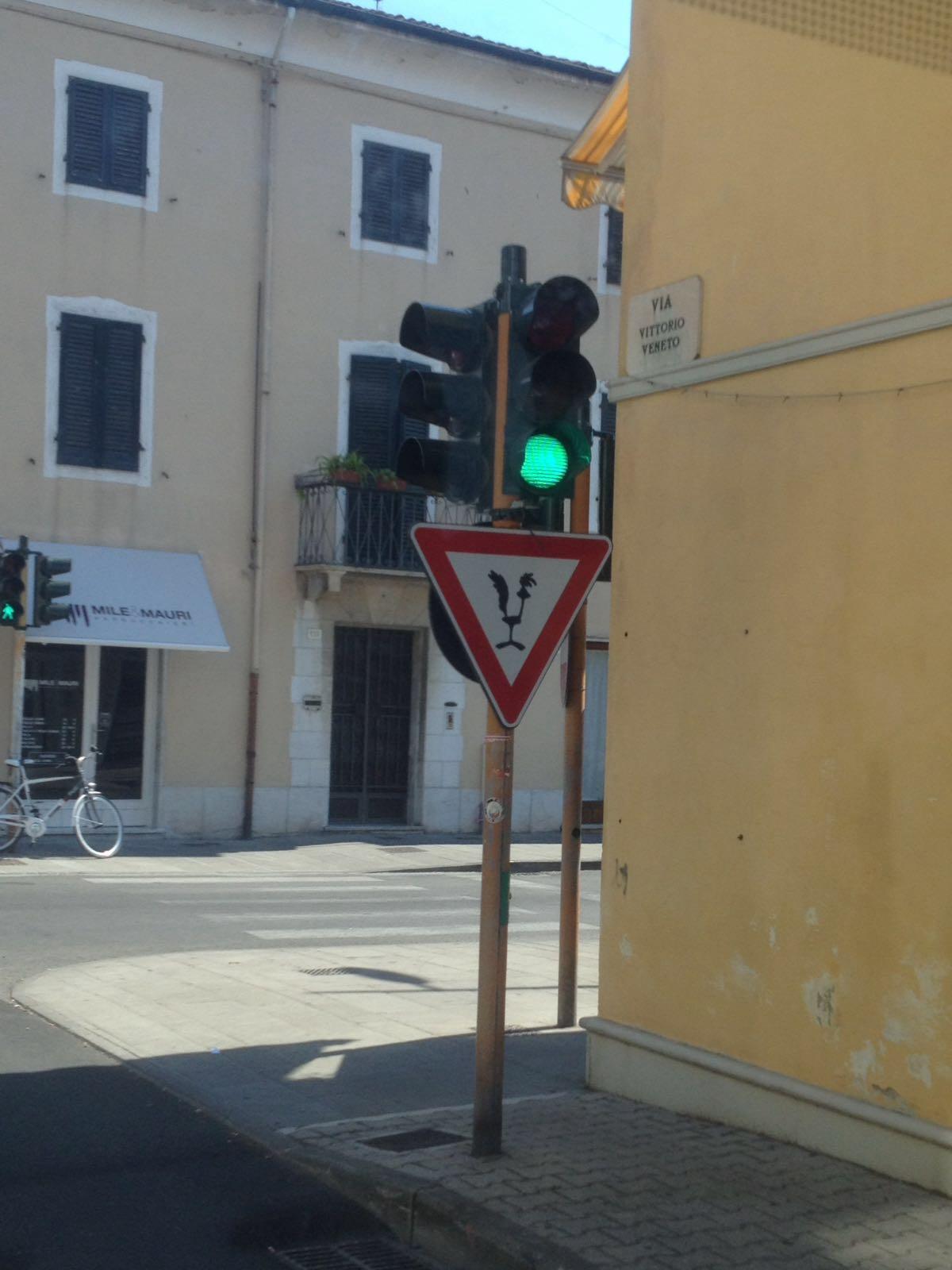 Beep Beep a Viareggio. Su un cartello stradale il pennuto della Warner Bros