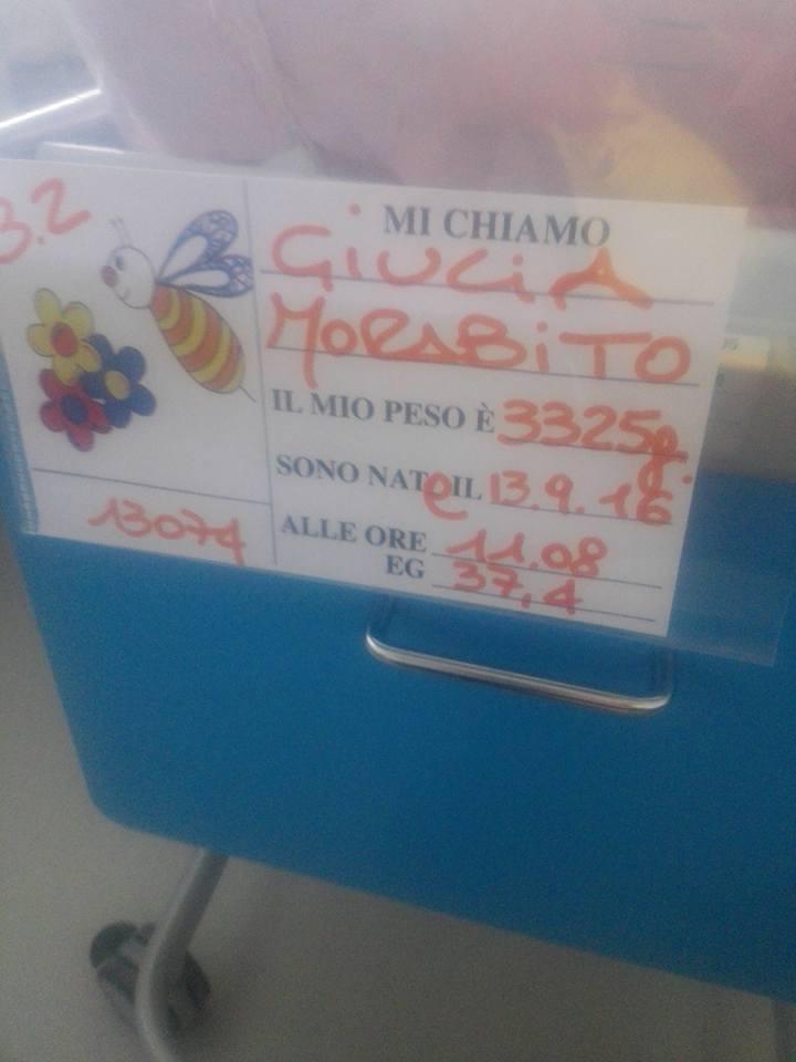 Fiocco rosa in casa Morabito-Pierotti. È nata Giulia