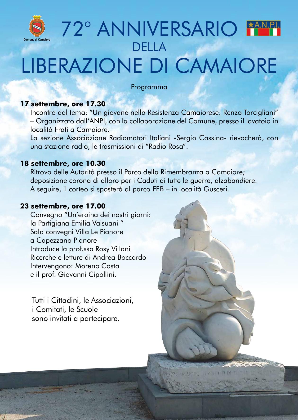 Liberazione Camaiore, tutti gli eventi per il 72esimo anniversario