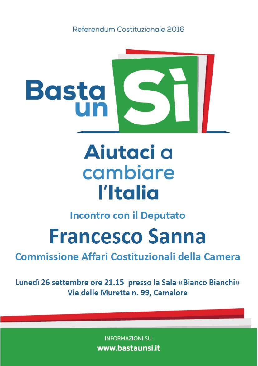 Referendum, le ragioni del sì. Incontro con il deputato Francesco Sanna