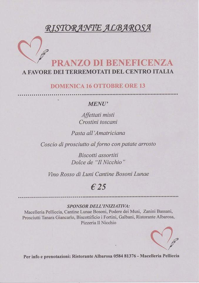 Un pranzo di beneficenza per le popolazioni del Centro Italia