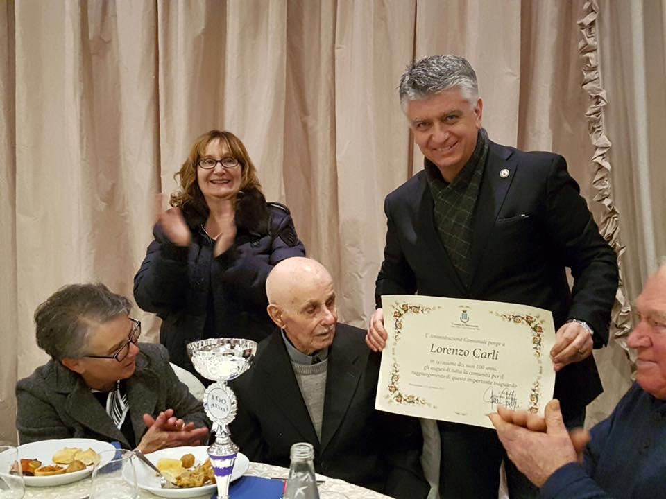 Lorenzo Carli entra nel club dei centenari pietrasantini