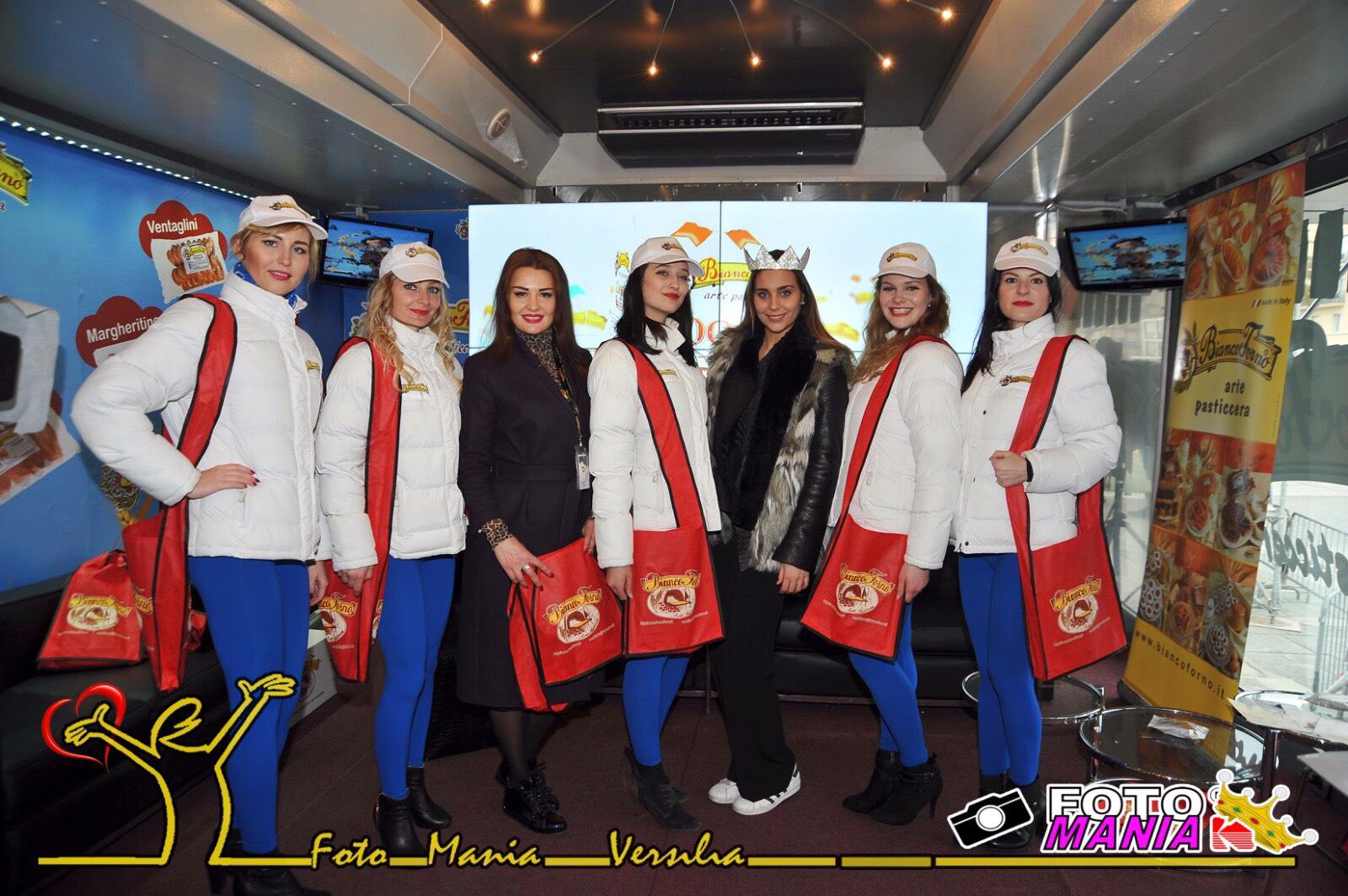 Carnevale di Viareggio 2017. Miss Italia ospite al truck Biancoforno