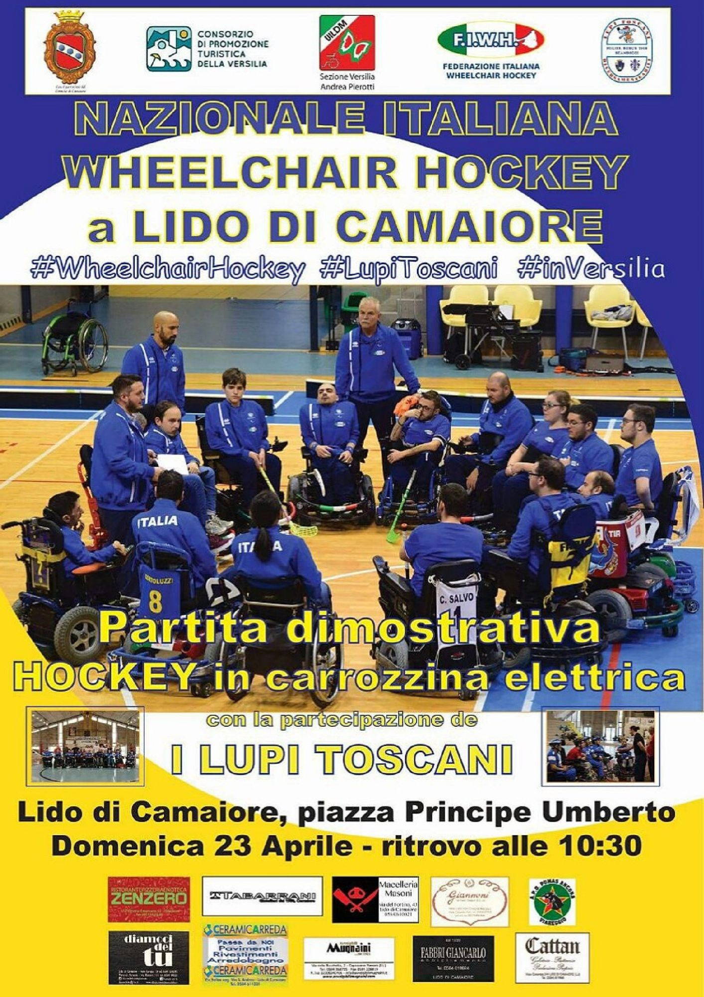 La nazionale italiana di wheelchair hockey in Versilia