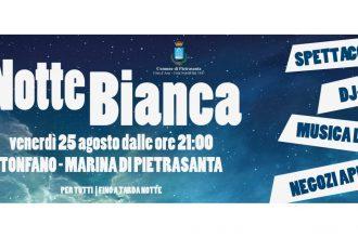 Locandina Notte Bianca a Tonfano Marina di Pietrasanta