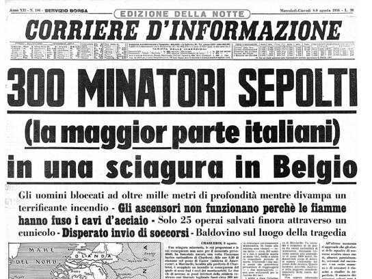 8 agosto 1956 il disastro di Marcinelle, Pietrasanta ricorda gli emigrati italiani sepolti nella miniera