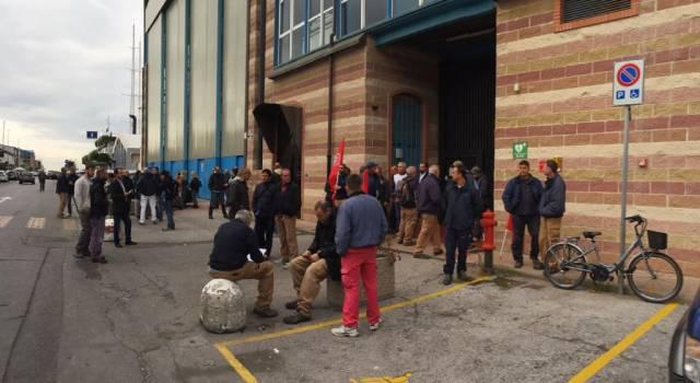 Sciopero dei lavoratori dei cantieri Azimut Benetti