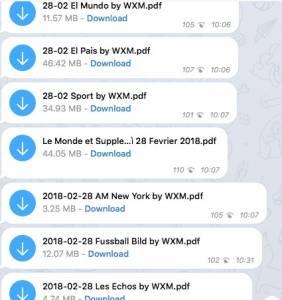 giornali con telegram