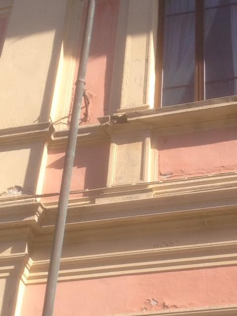 Si stacca il cornicione dalla facciata della scuola Lambruschini, tragedia sfiorata
