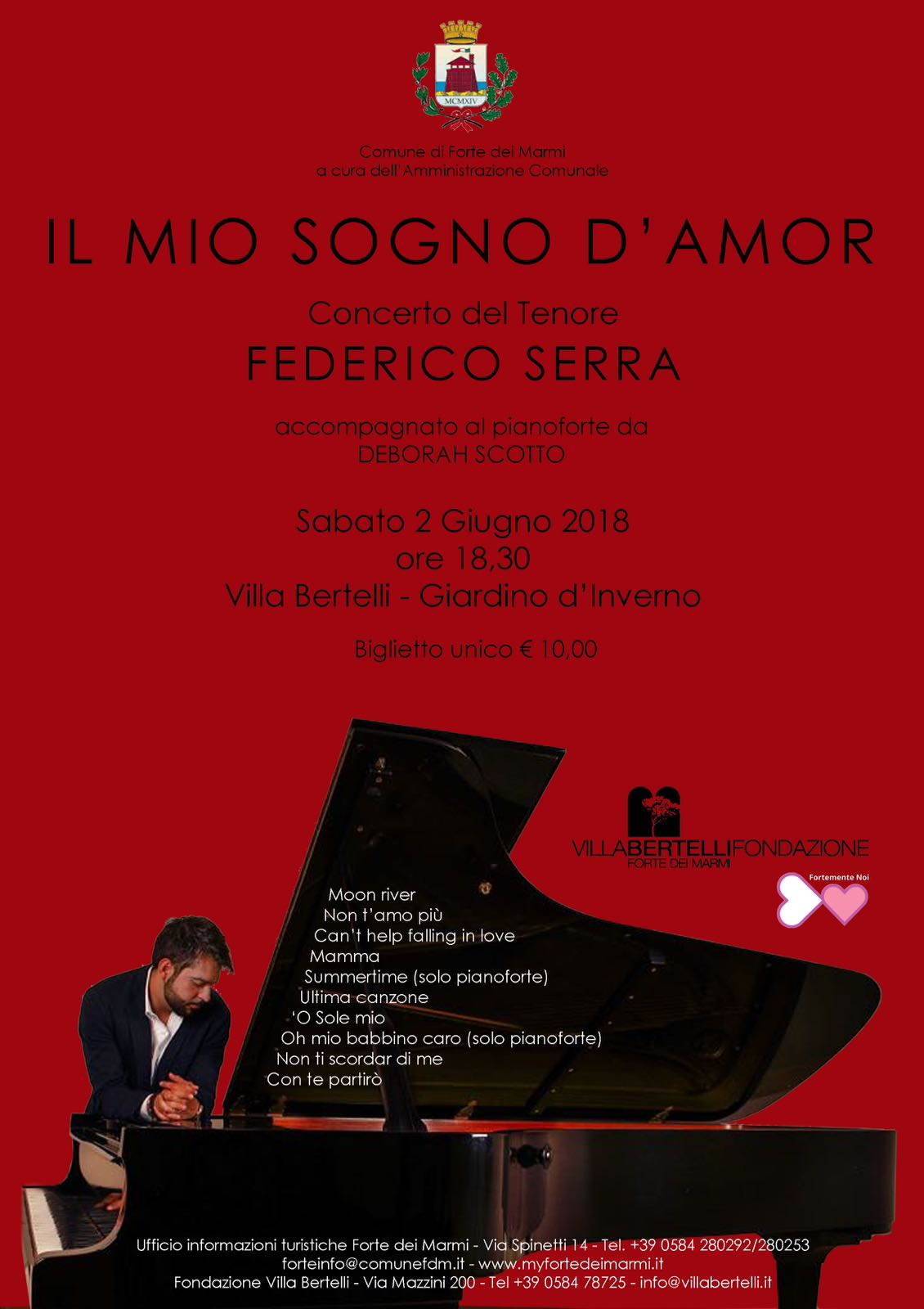 A Forte dei Marmi il concerto di Federico Serra l'astro nascente della lirica italiana