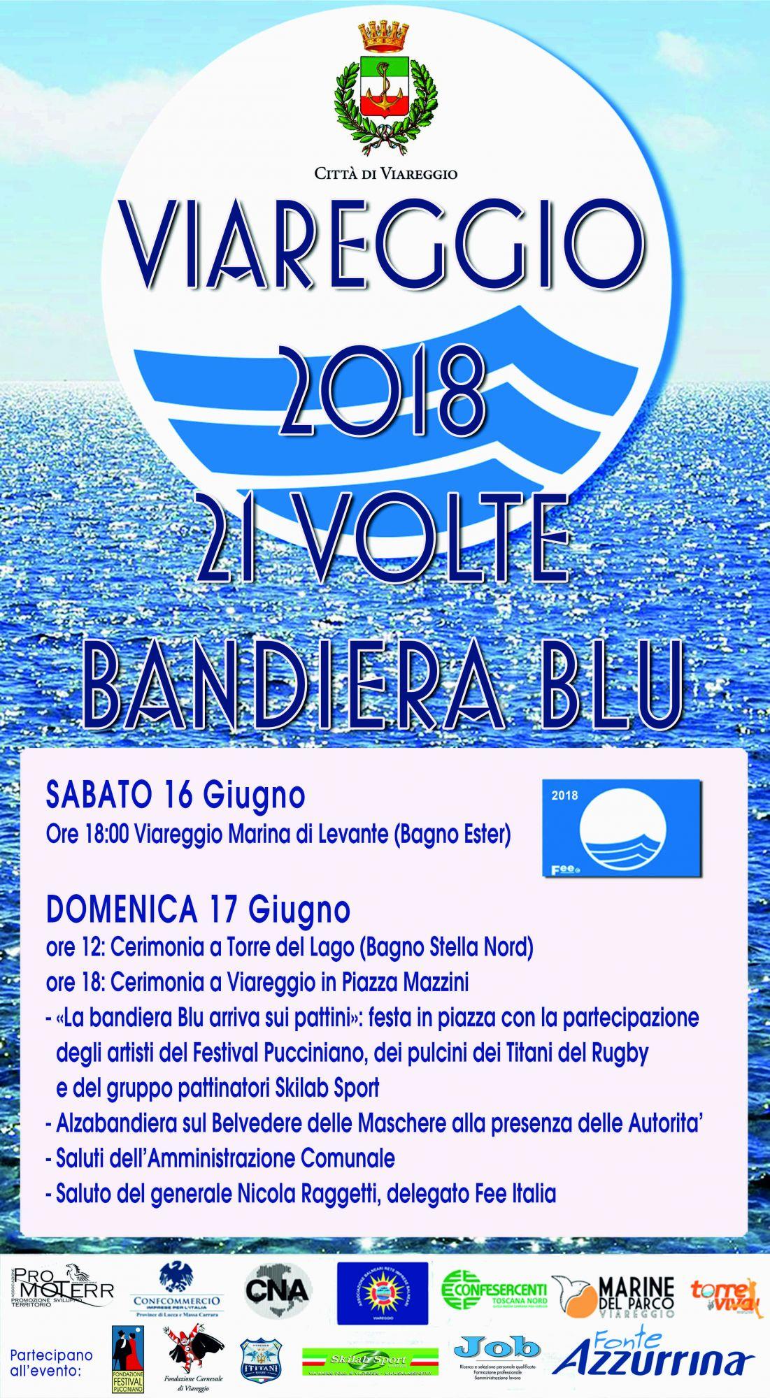 Bandiera Blu a Viareggio, la cerimonia domenica sul Belvedere delle Maschere