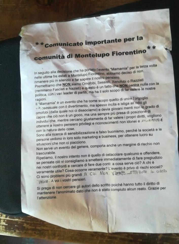 """Il Mamamia in tour a Montelupo e il volantino anonimo: """"Istiga all'omofobia"""""""
