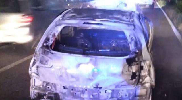 Citroen C3 a fuoco, l'auto distrutta