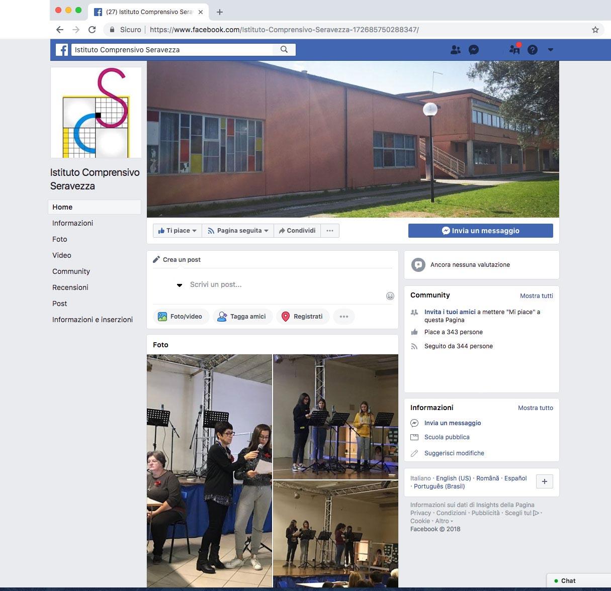 Attivata la pagina Facebook dell'Istituto Comprensivo di Seravezza
