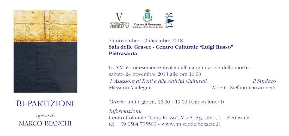 Arte: le Bi-Partizioni in mostra a Pietrasanta, la pittura contemporanea di Marco Bianchi nella Sala delle Grasce