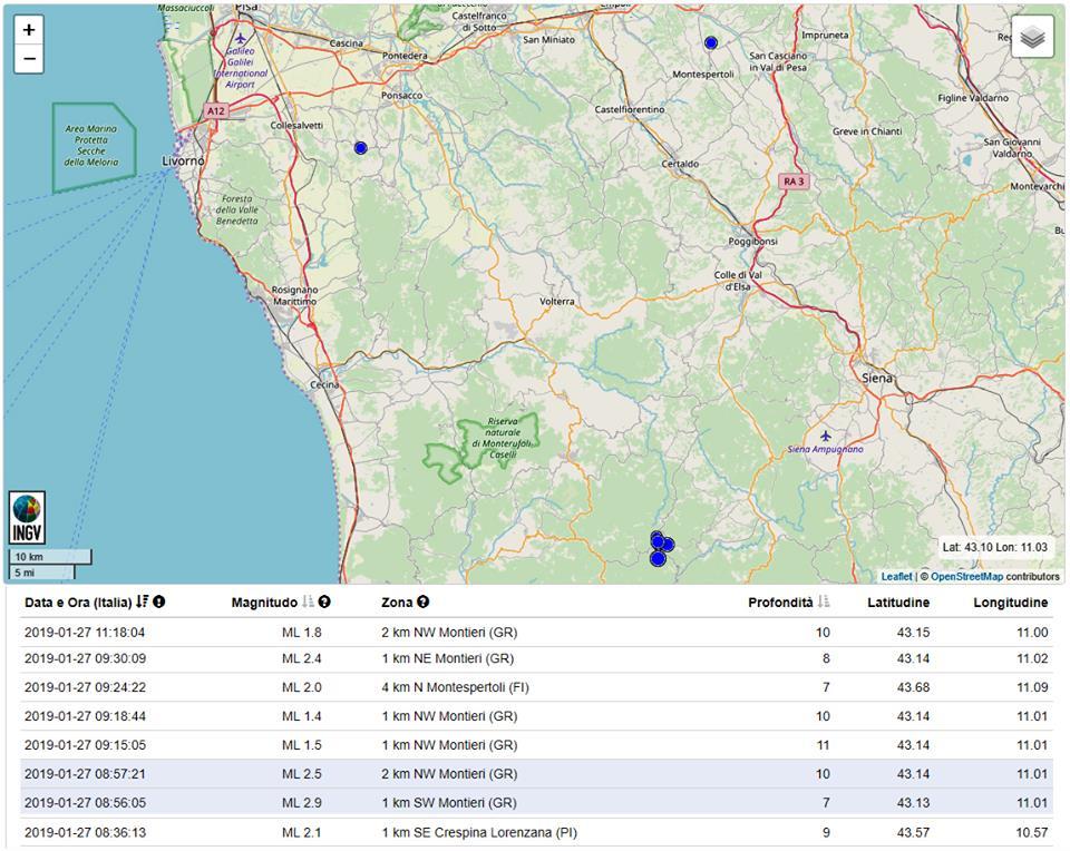 Altre tre scosse di terremoto in Toscana: i movimenti tellurici salgono a 8