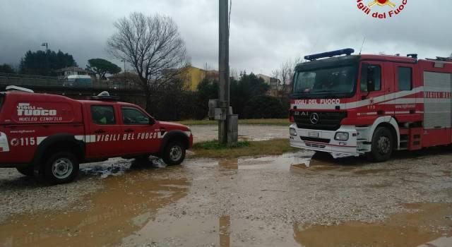Fiume Cecina in piena, i vigili del fuoco monitorano la zona