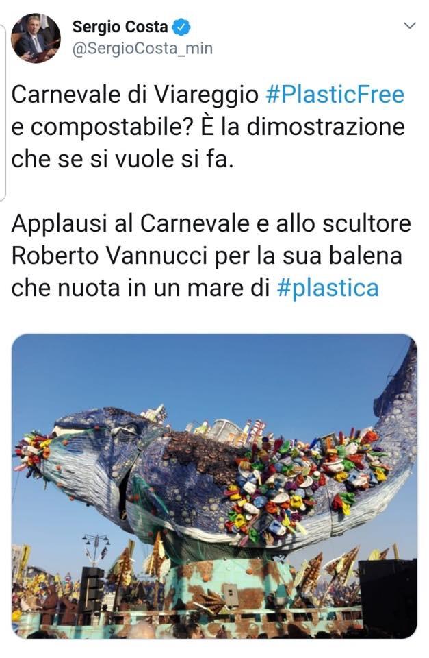 Il Ministro dell'Ambiente Sergio Costa twitta il Carnevale di Viareggio