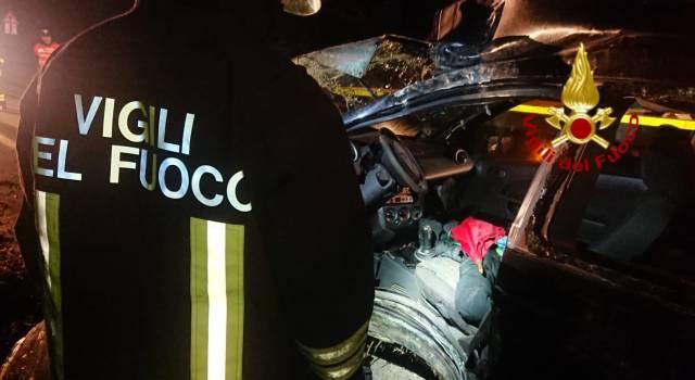 Auto contro albero, conducente estratto dalle lamiere dai vigili del fuoco
