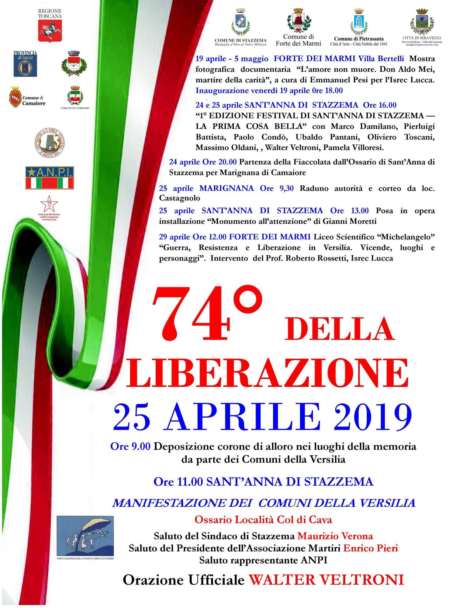 25 aprile, le celebrazioni a Sant'Anna di Stazzema